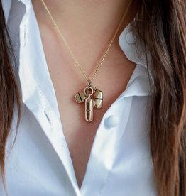 "Lost Apostle - Pills Necklace Bronze - 18"" gold chain"