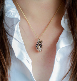 """Lost Apostle - Anatomical Heart Necklace - Bronze - 18"""", gold plated chain"""