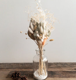 Dried Flower Bouquet with Glass Vase