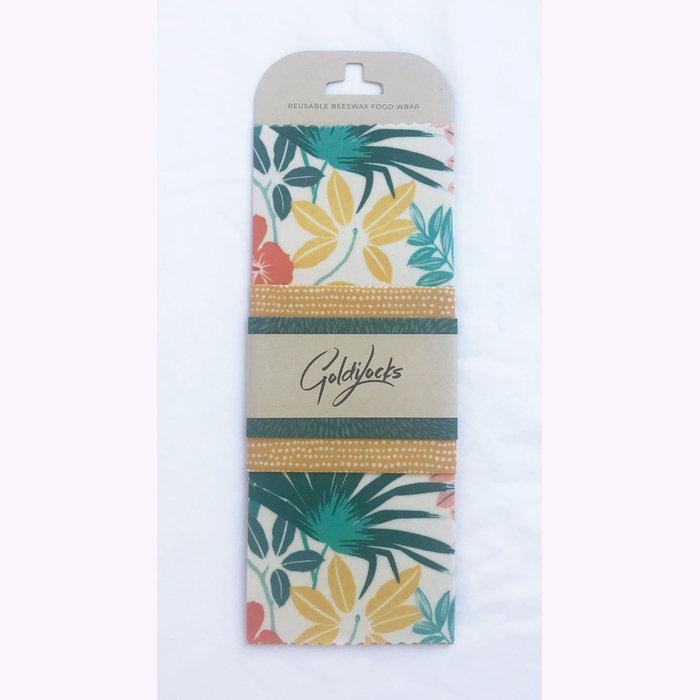 Goldilocks Wraps Pellicules alimentaires réutilisables Goldilocks Wraps Palmiers tropicaux - Ensemble de 3