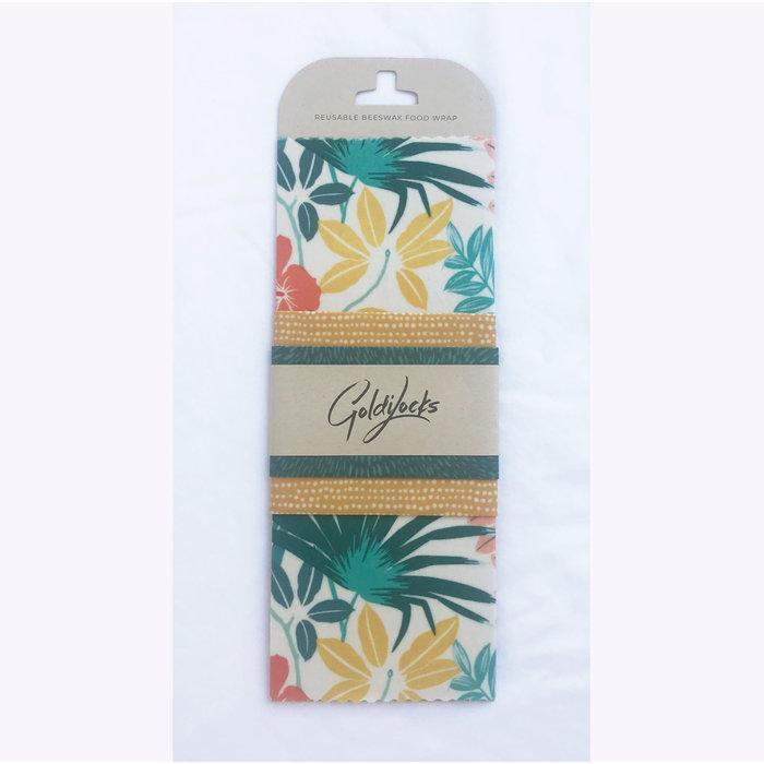 Goldilocks Reusable Beeswax Wraps Tropical Palms - Set of 3