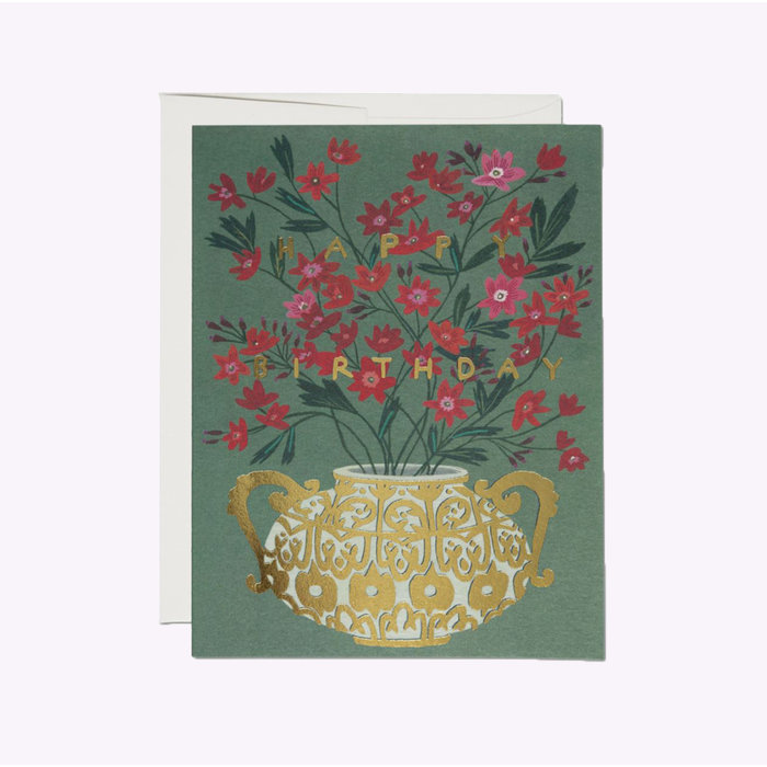 Red Carp Cards Golden Vase Birthday Card