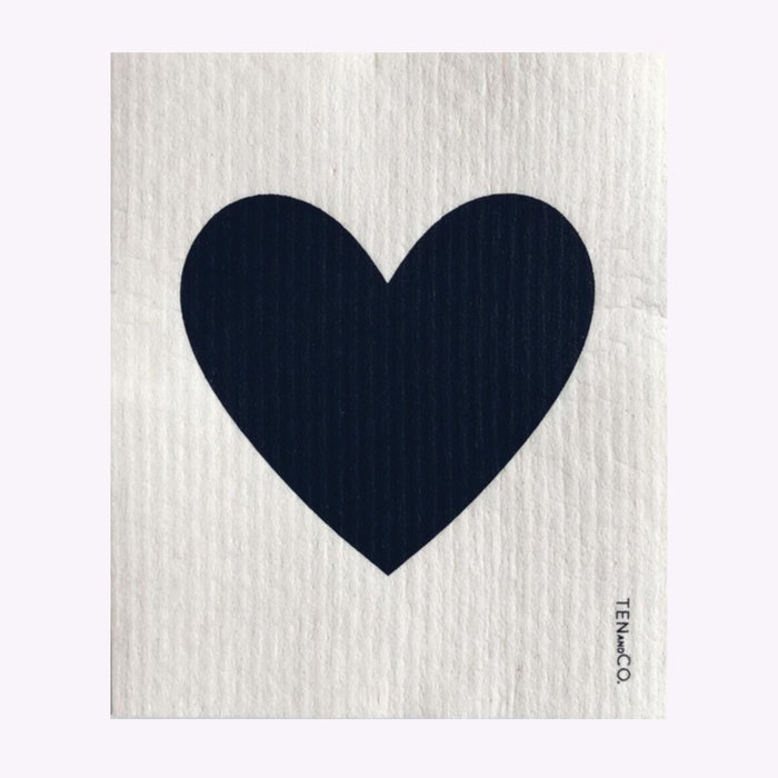 Ten & Co Ten & Co Black Heart Sponge Cloth