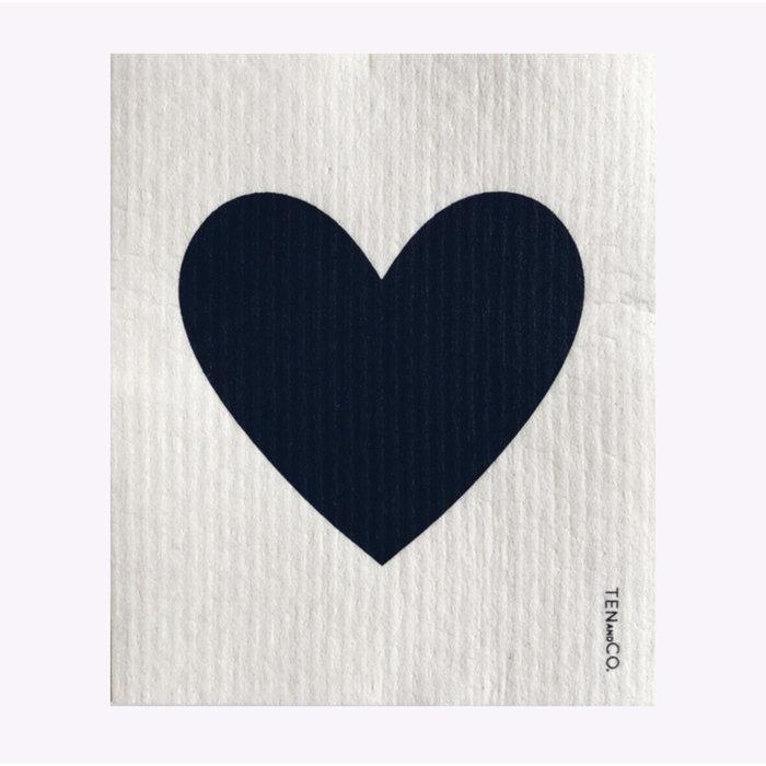 Ten & Co Black Heart Sponge Cloth