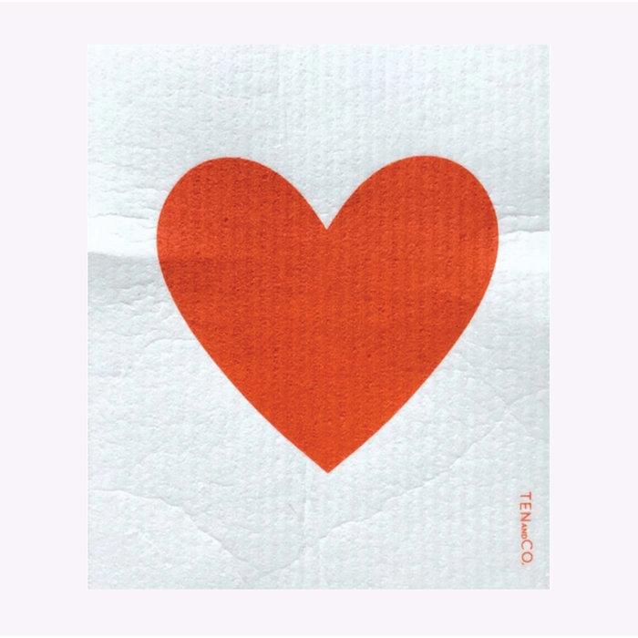 Ten & Co Red Heart Sponge Cloth