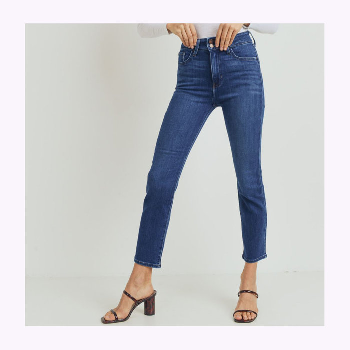 Just Black Denim Jeans Droit Deux Boutons Denim Foncé JBD