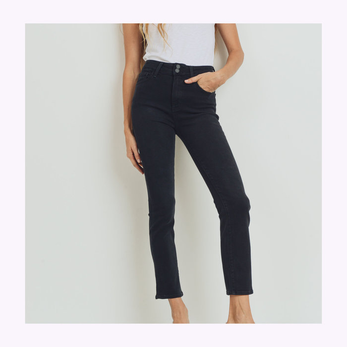 Just Black Denim Jeans Droit Deux Boutons Washed Black JBD
