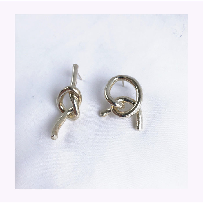 Marmod8 Silver Mismatched Knots Earrings