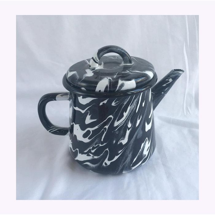 Bornn Black Marbled Enamel Teapot