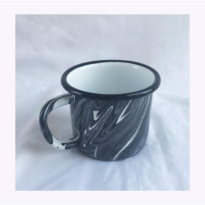 Bornn Large Black Marbled Enamel Mug
