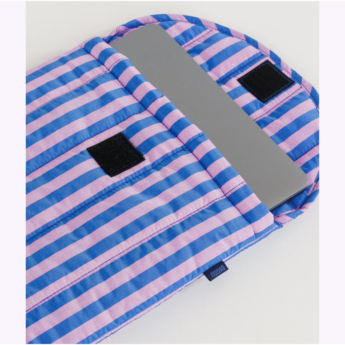 "Baggu Pink & Blue Stripes Puffy Laptop Sleeve 13"""