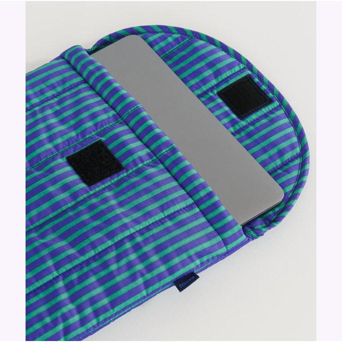 """Baggu Cobalt & Jade Stripes Puffy Laptop Sleeve 13"""""""