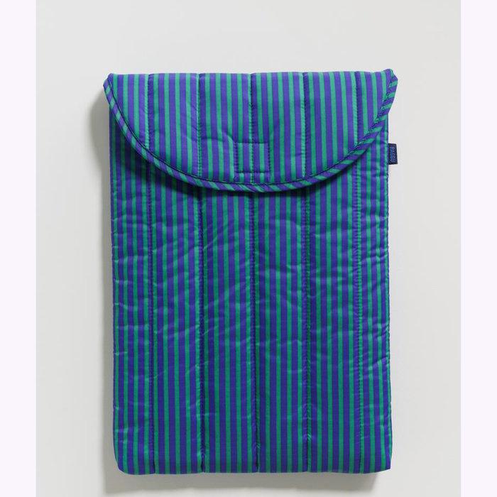 "Baggu pochette Baggu Cobalt & Jade Stripes Puffy Laptop Sleeve 16"""