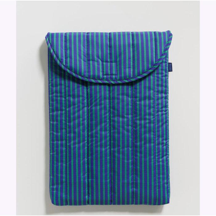 """Baggu Cobalt & Jade Stripes Puffy Laptop Sleeve 16"""""""