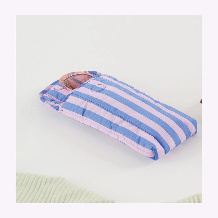 Baggu pochette Baggu Pink & Blue Stripes Puffy Glasses Sleeve