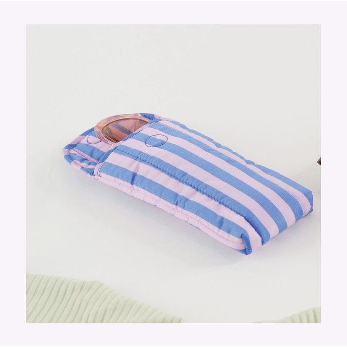 Baggu Pink & Blue Stripes Puffy Glasses Sleeve