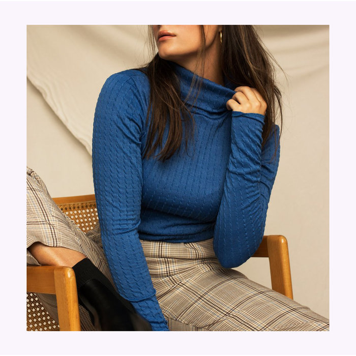 Dailystory Blue Chloe Turtleneck
