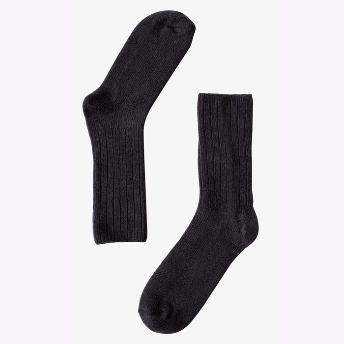 Bonnetier Bonnetier Lamb and Merino Wool Black Socks (10-13)