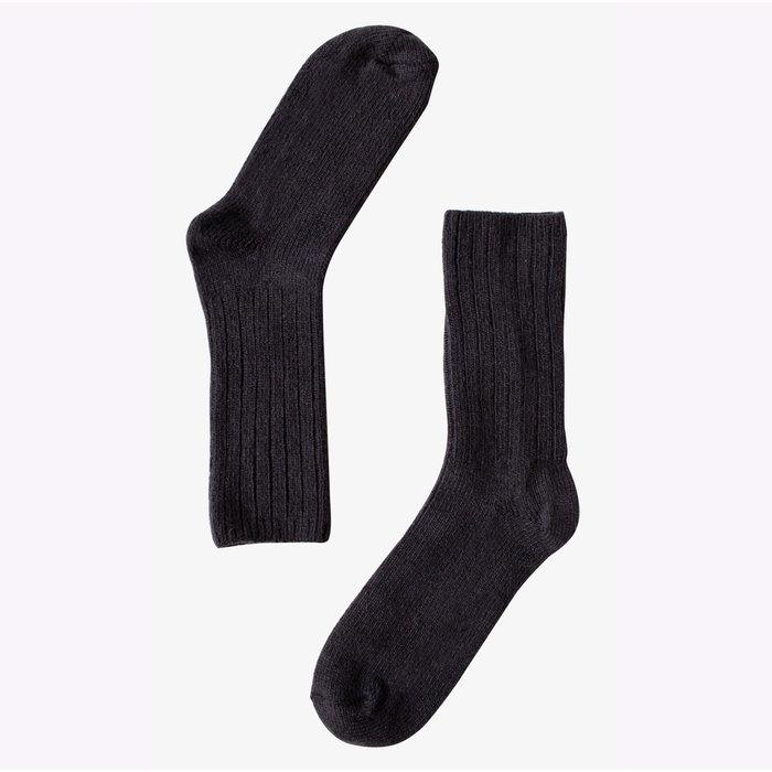 Bonnetier Lamb and Merino Wool Black Socks (7-10)