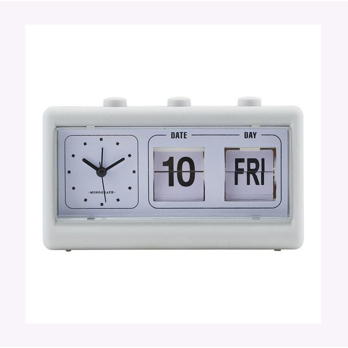 Monograph Retro Grey Clock-Calendar