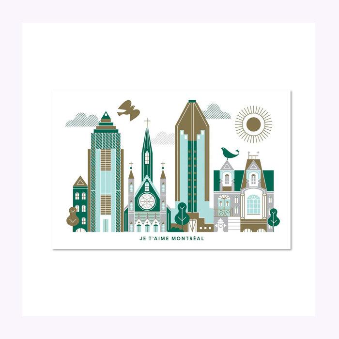Paperole Carte postale Je t'aime Montréal Paperole