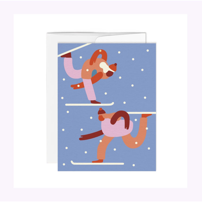 Paperole Skiers Christmas Card