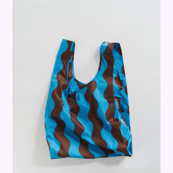 Baggu sac réutilisable Sac réutilisable Baggu Rayures Wavy Turquoise et Brun