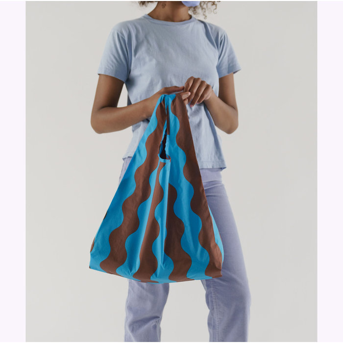 Baggu Teal & Brown Wavy Stripe Reusable Bag