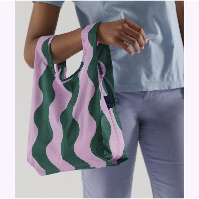 Baby Baggu Pink & Green Wavy Stripe Reusable Bag