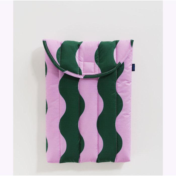 "Baggu Pink & Green Wavy Stripe Puffy Laptop Sleeve 13"""