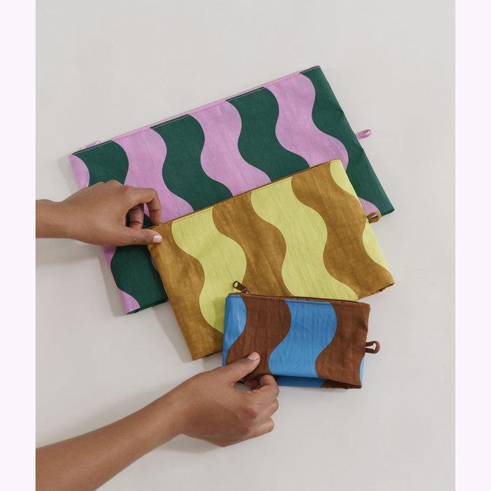 Baggu pochette Baggu Wavy Stripe Pouch S (Blue & Brown)