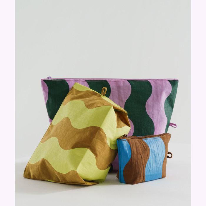 Baggu pochette Baggu Wavy Stripe Pouch L (Pink & Green)