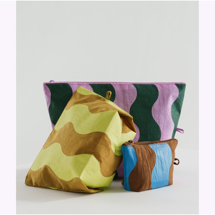 Baggu Wavy Stripe Pouch L (Pink & Green)