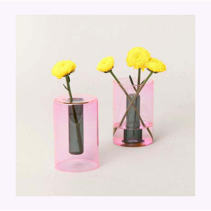 Block Design Small Reversible Glass Vase