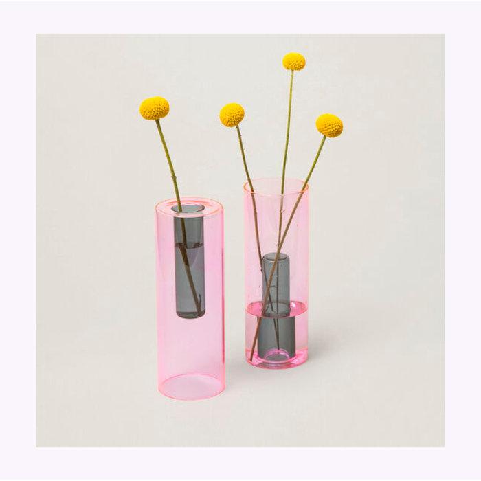 Block Design Tall Reversible Glass Vase
