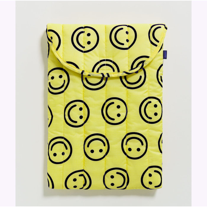 "Baggu Happy Yellow Puffy Laptop Sleeve 16"""