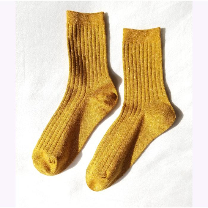 Le Bon Shoppe Mustard Glitter Lurex Socks