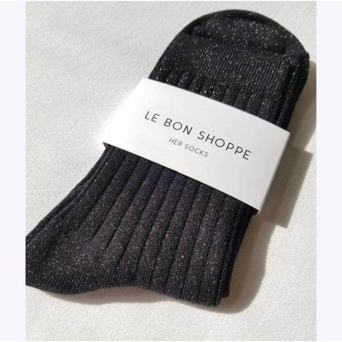 Le Bon Shoppe Copper Black Glitter Lurex Socks