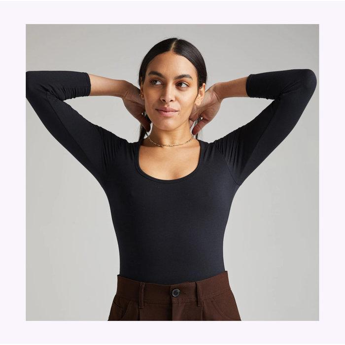 Richer Poorer Scoop Neck Black Bodysuit