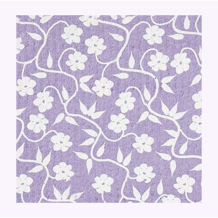 Three Bluebirds Purple Vines Dishcloth