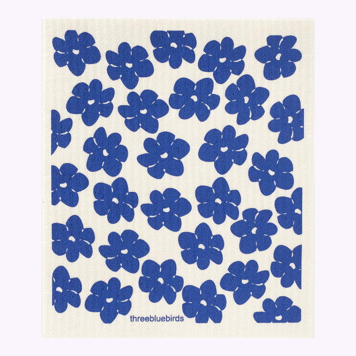Three Bluebirds Three Bluebirds Blue Poppies Dishcloth