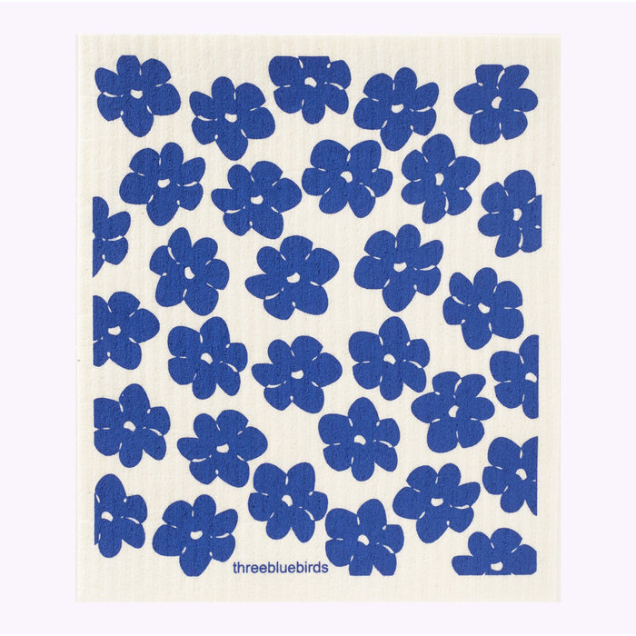 Three Bluebirds Blue Poppies Dishcloth