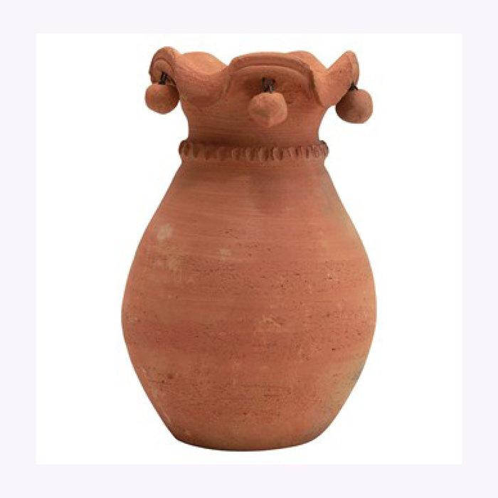Creative Coop Creative Coop Ruffled Edges Terracotta Vase