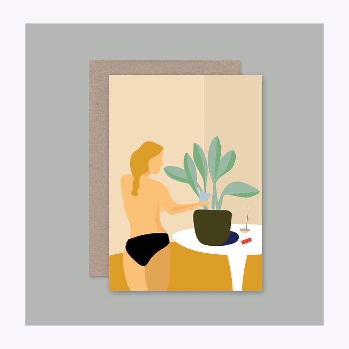AHD Paper co Carte Femme arrosant une plante AHD Paper Co.