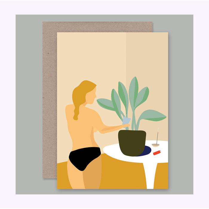 Carte Femme arrosant une plante AHD Paper Co.