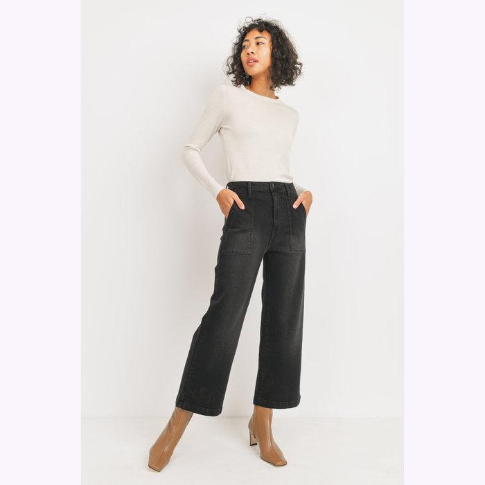 Just Black Denim Jeans Jambe Large Noir JBD