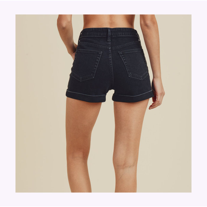 JBD Washed Black Hight Waisted Shorts
