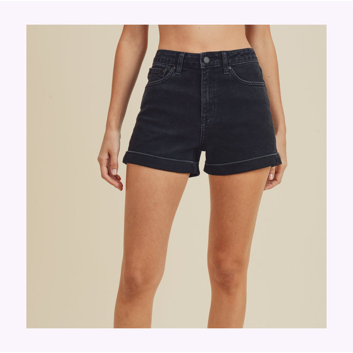 Short Taille haute Washed Black