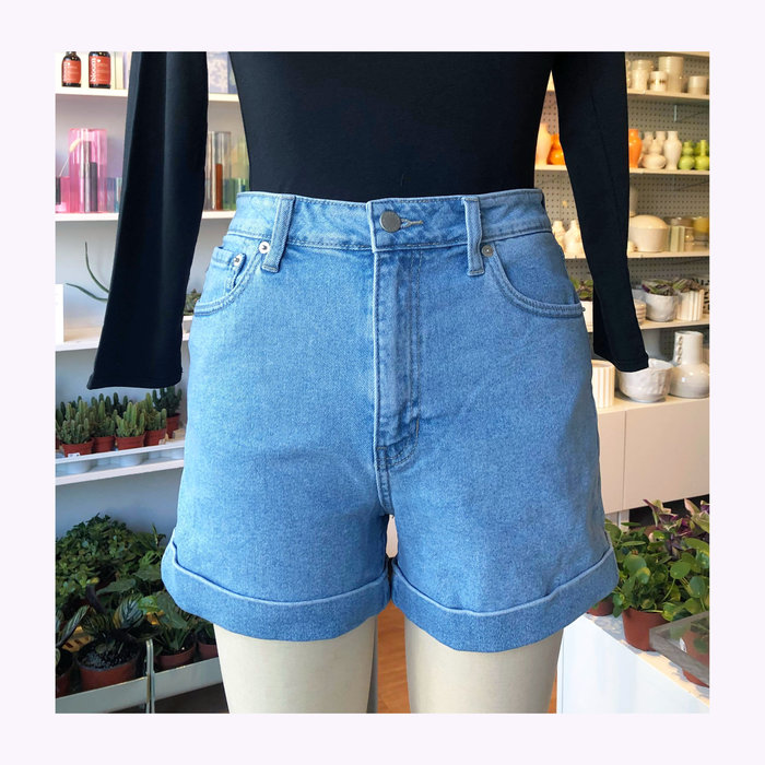 Just Black Denim Short Taille haute Bleu Clair JBD