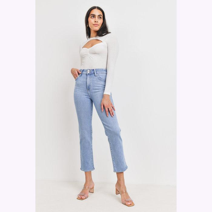 Just Black Denim Jeans Droit Deux Boutons Denim Clair JBD